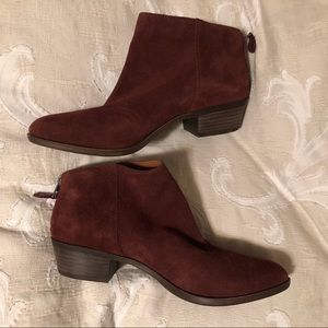 Lucky Brand burgundy suede booties size 9.5